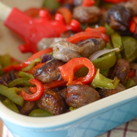 Air Fryer Bratwurst and Vegetables