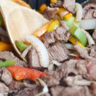 Air Fryer Steak Fajitas with Onions and Peppers