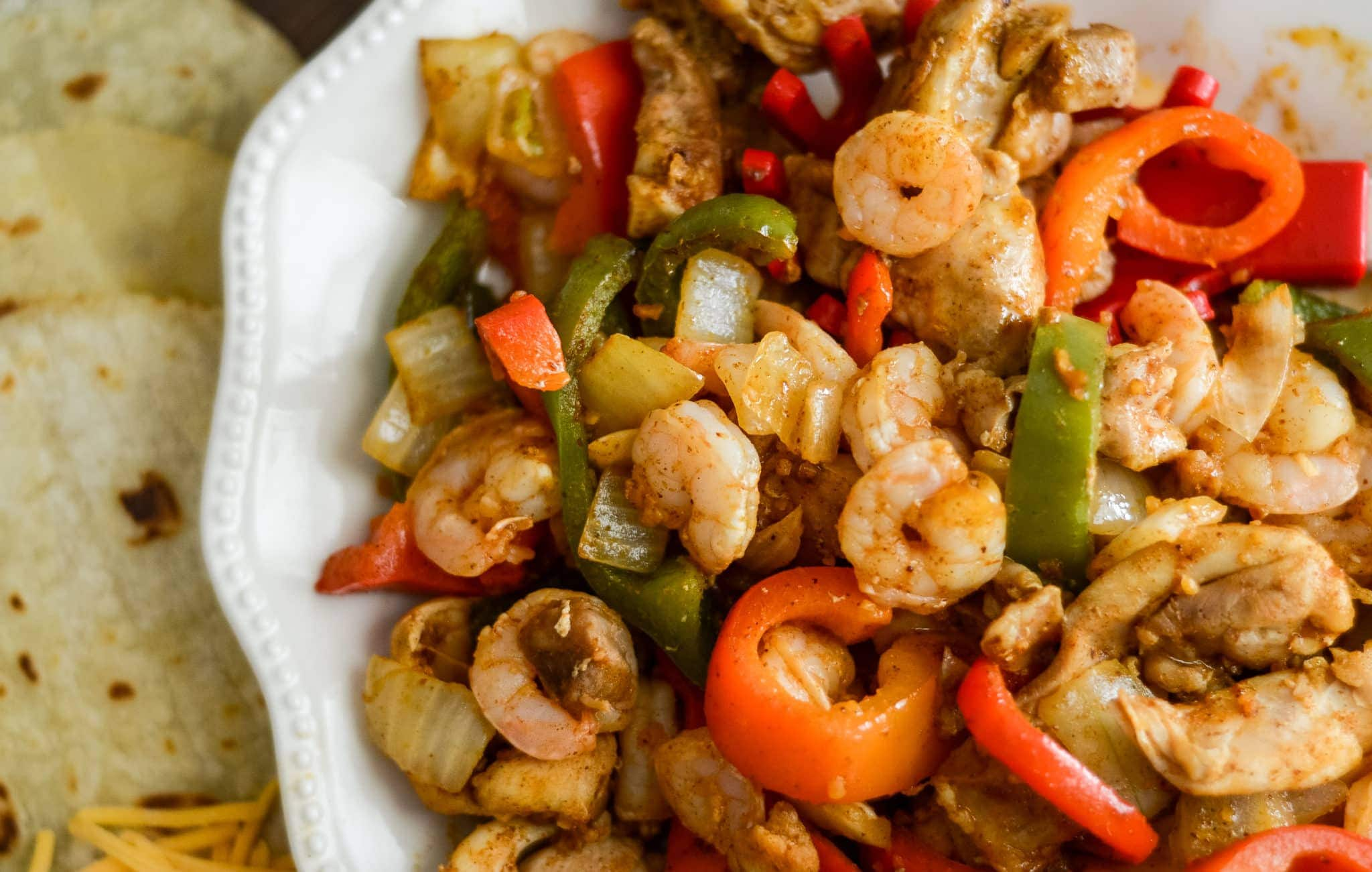 Air Fryer Chicken and Shrimp Fajitas